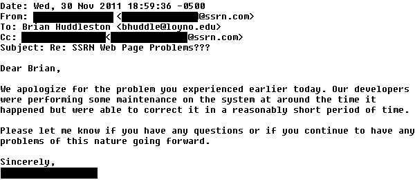 e-mail from SSRN